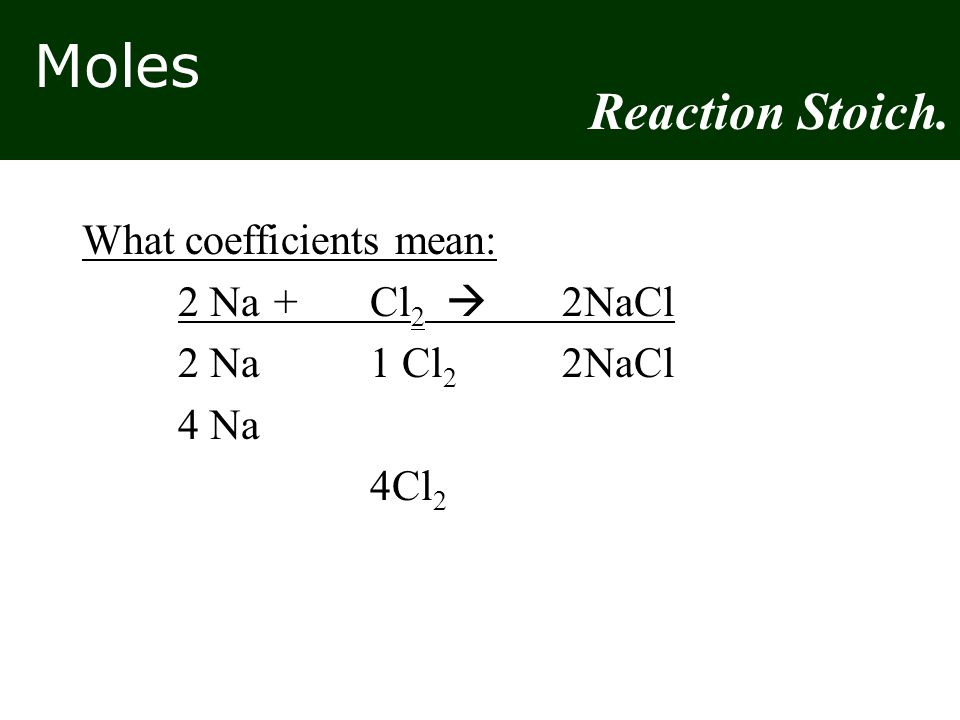 Moles What coefficients mean: 2 Na+Cl 2  2NaCl 2 Na1 Cl 2 2NaCl 4 Na 4Cl 2 Reaction Stoich.