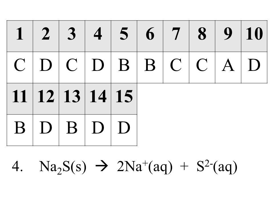 12345678910 CDCDBBCCAD 1112131415 BDBDD 4.Na 2 S(s)  2Na + (aq) + S 2- (aq)