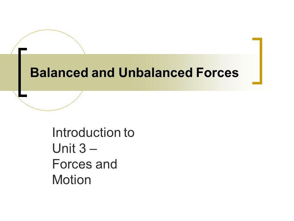 Balanced and Unbalanced Forces Introduction to Unit 3 – Forces and Motion