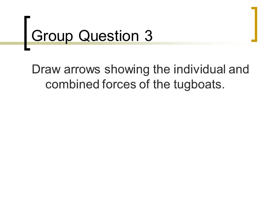 Group Question 3 Draw arrows showing the individual and combined forces of the tugboats.
