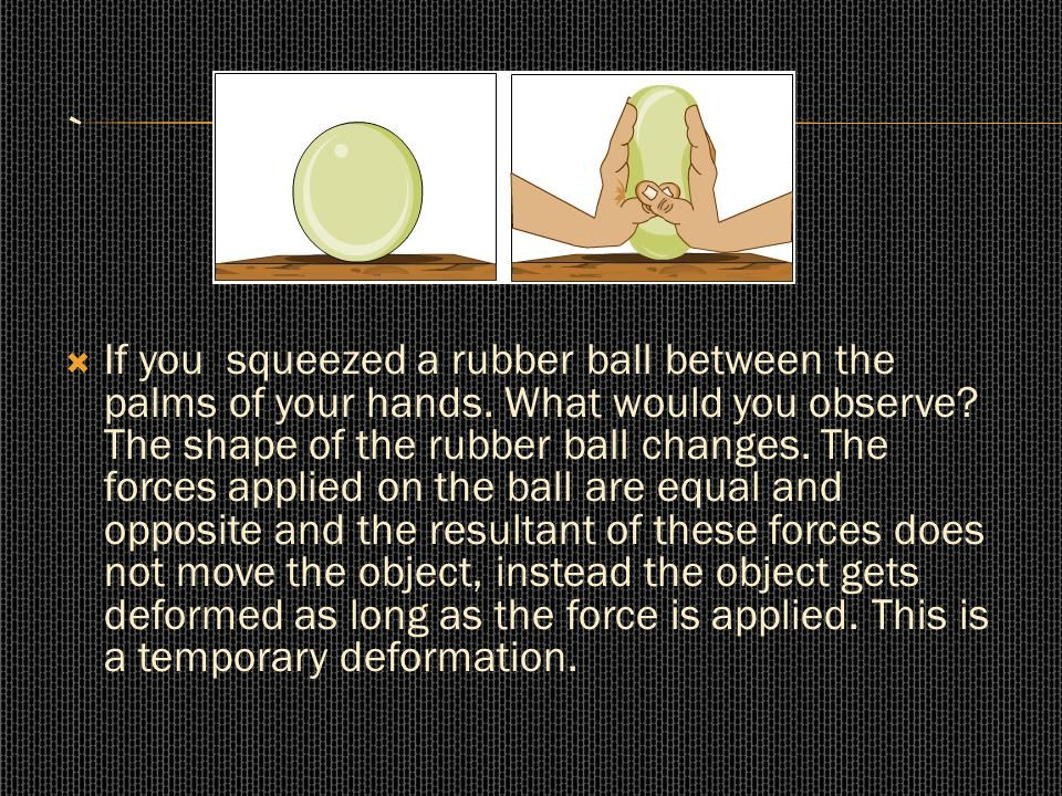  If you squeezed a rubber ball between the palms of your hands. What would you observe? The shape of the rubber ball changes. The forces applied on t