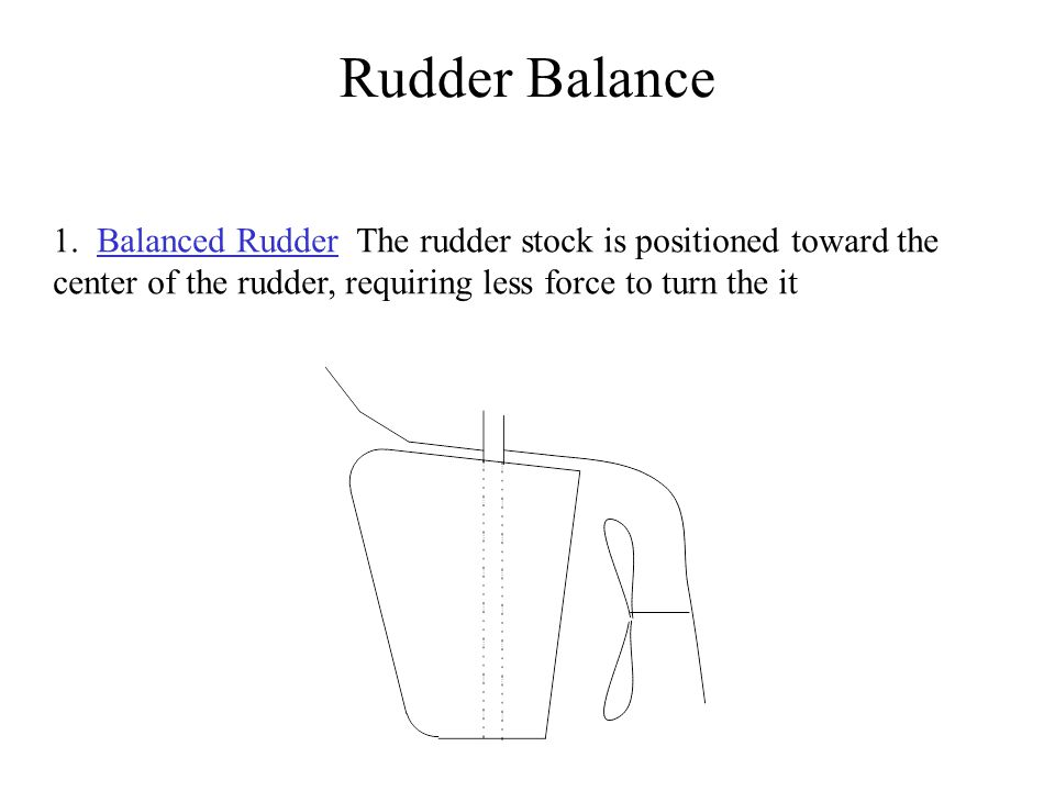 1. Balanced Rudder The rudder stock is positioned toward the center of the rudder, requiring less force to turn the it Rudder Balance