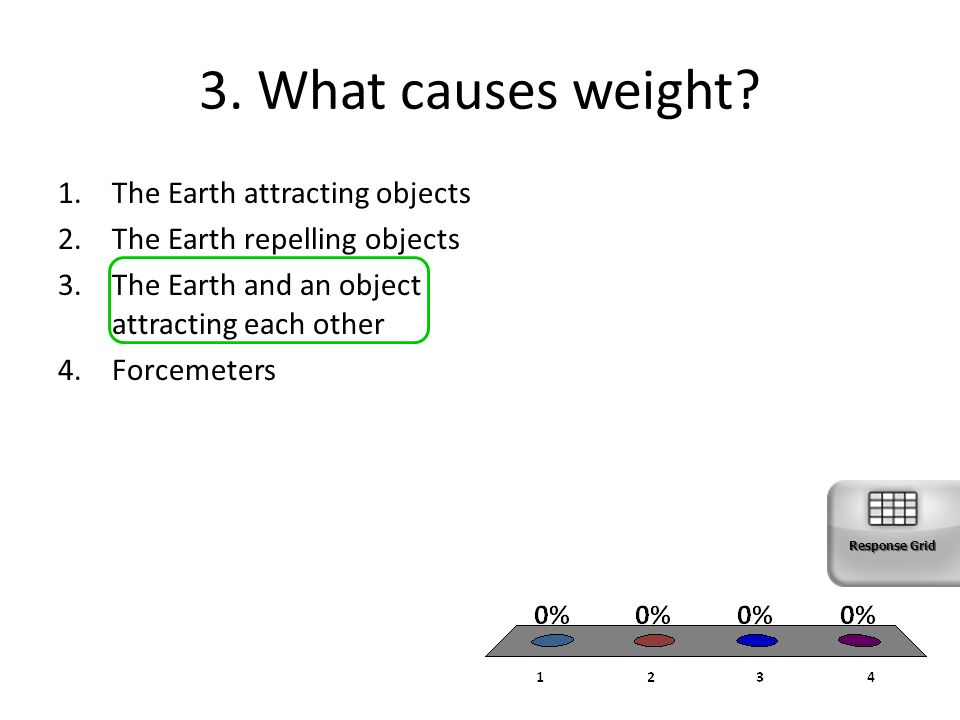 3. What causes weight? 1.The Earth attracting objects 2.The Earth repelling objects 3.The Earth and an object attracting each other 4.Forcemeters Resp