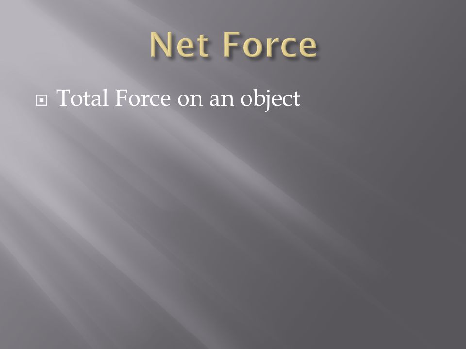  Total Force on an object