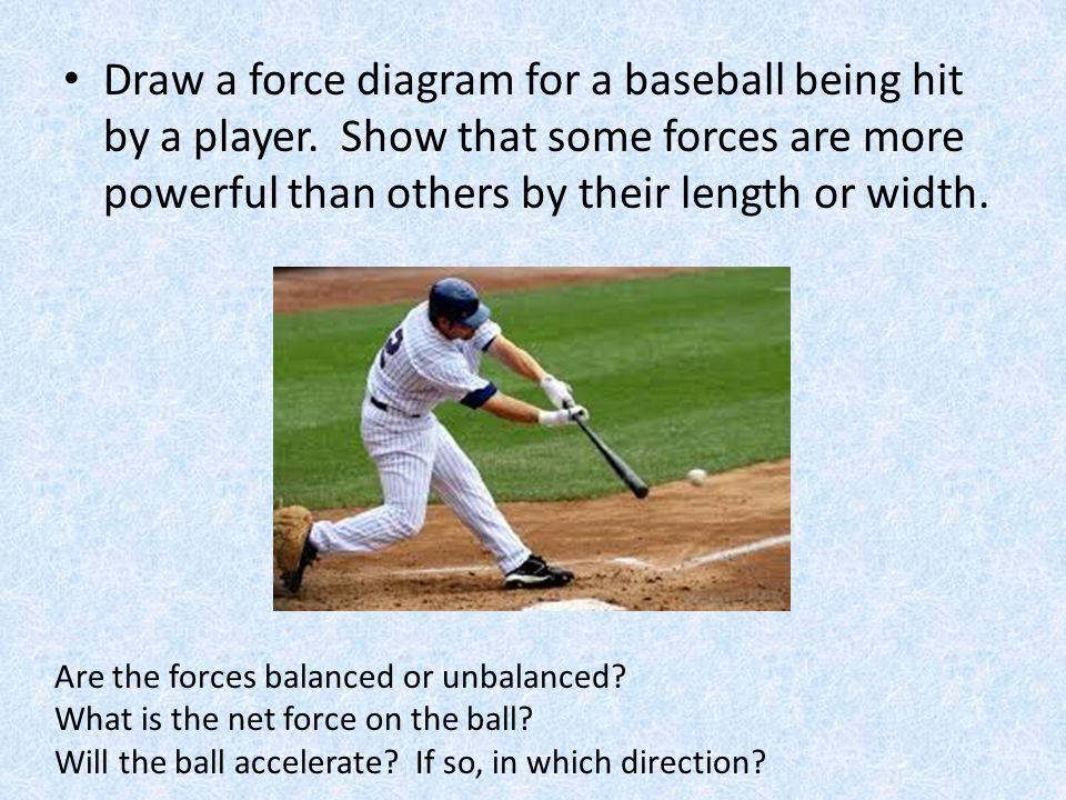 Draw a force diagram for a baseball being hit by a player. Show that some forces are more powerful than others by their length or width. Are the force