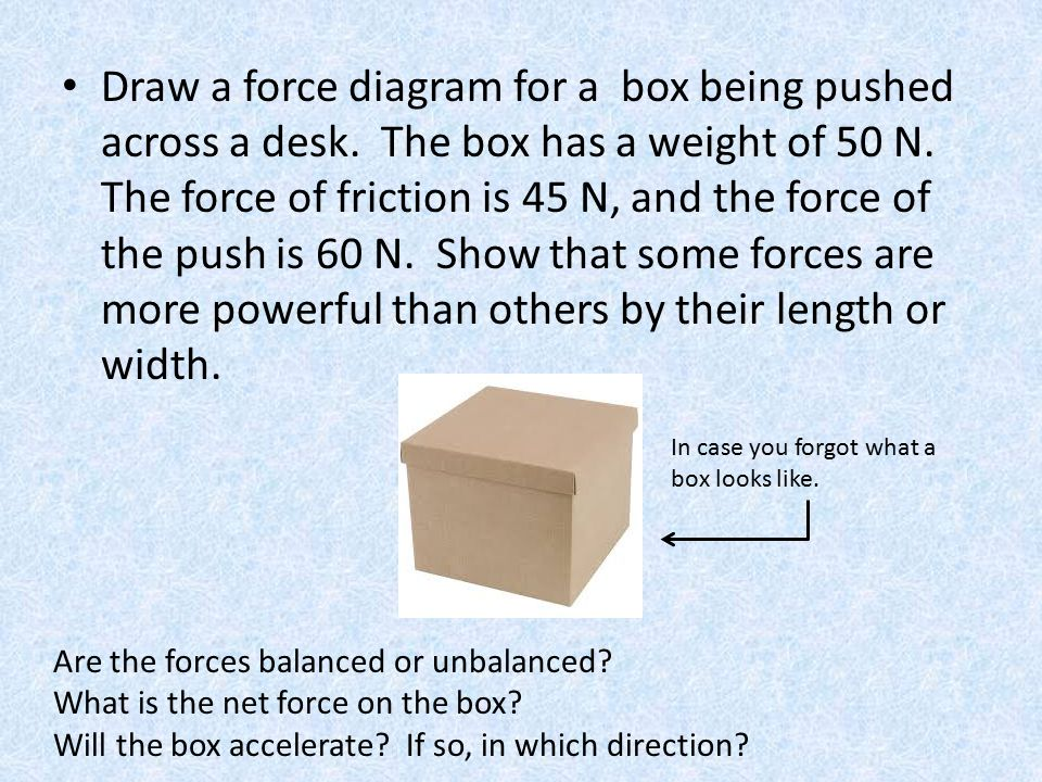 Draw a force diagram for a box being pushed across a desk. The box has a weight of 50 N. The force of friction is 45 N, and the force of the push is 6