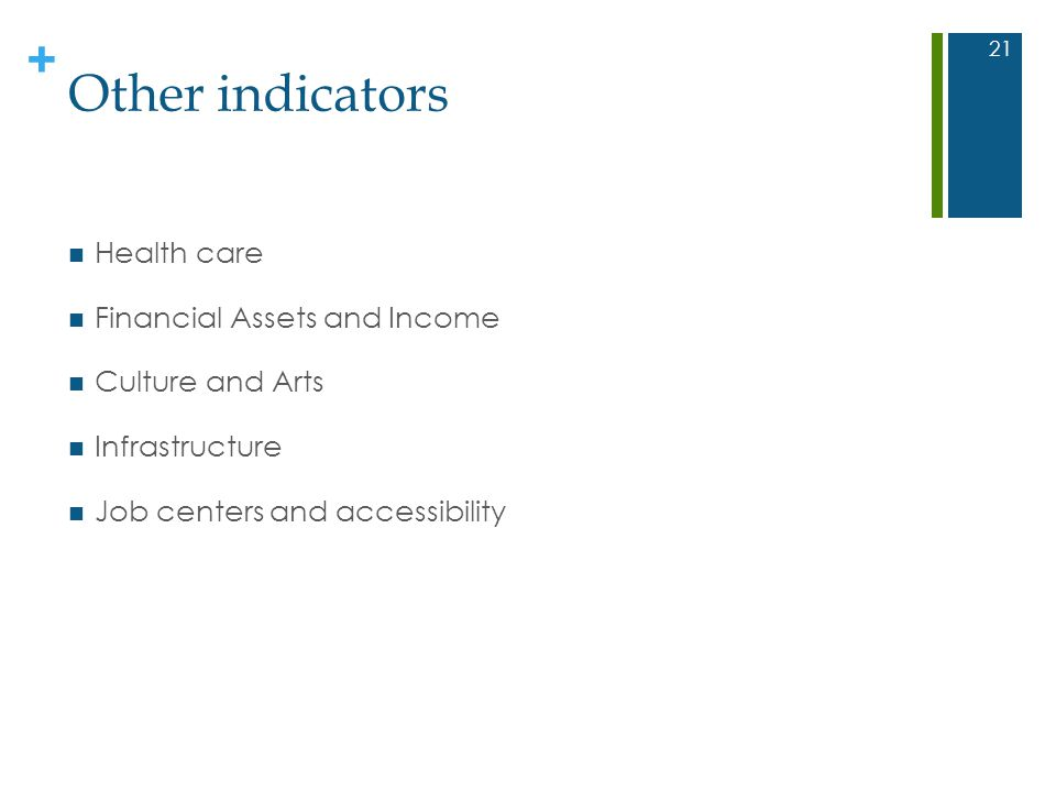 + Other indicators Health care Financial Assets and Income Culture and Arts Infrastructure Job centers and accessibility 21
