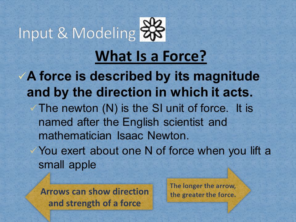 What Is a Force.A force is described by its magnitude and by the direction in which it acts.