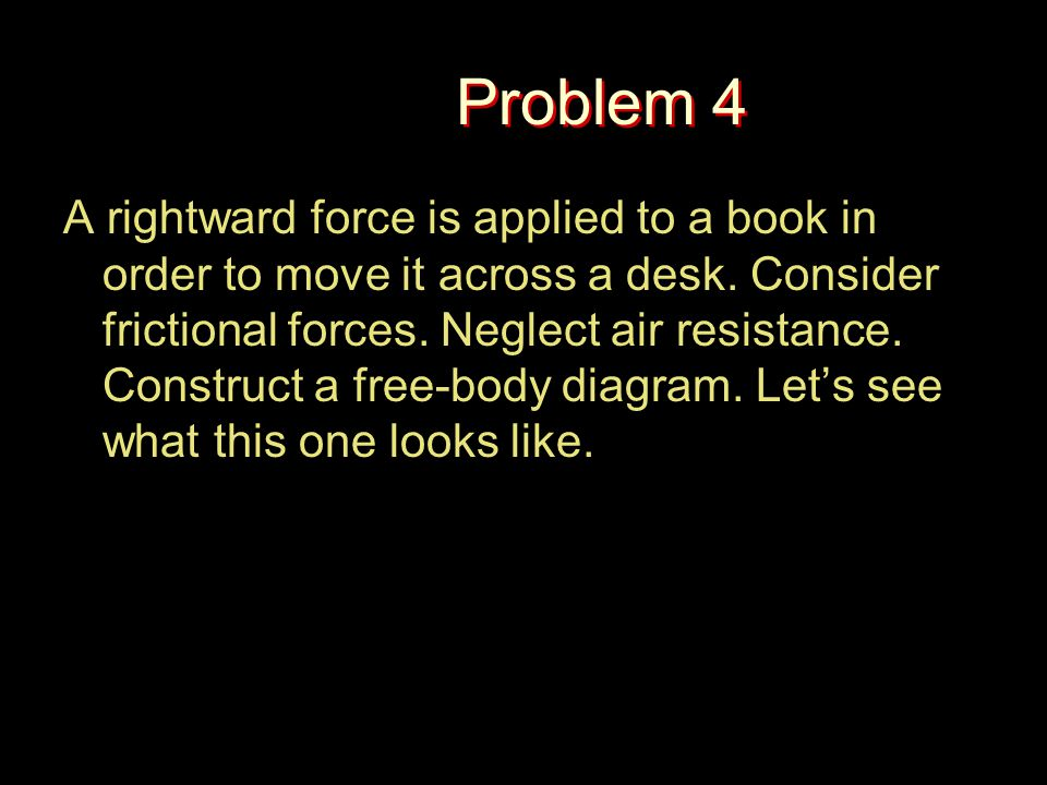 Problem 4 A rightward force is applied to a book in order to move it across a desk. Consider frictional forces. Neglect air resistance. Construct a fr
