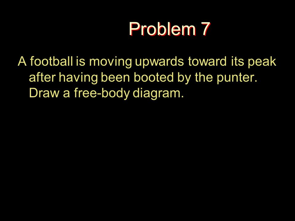 Problem 7 A football is moving upwards toward its peak after having been booted by the punter. Draw a free-body diagram.