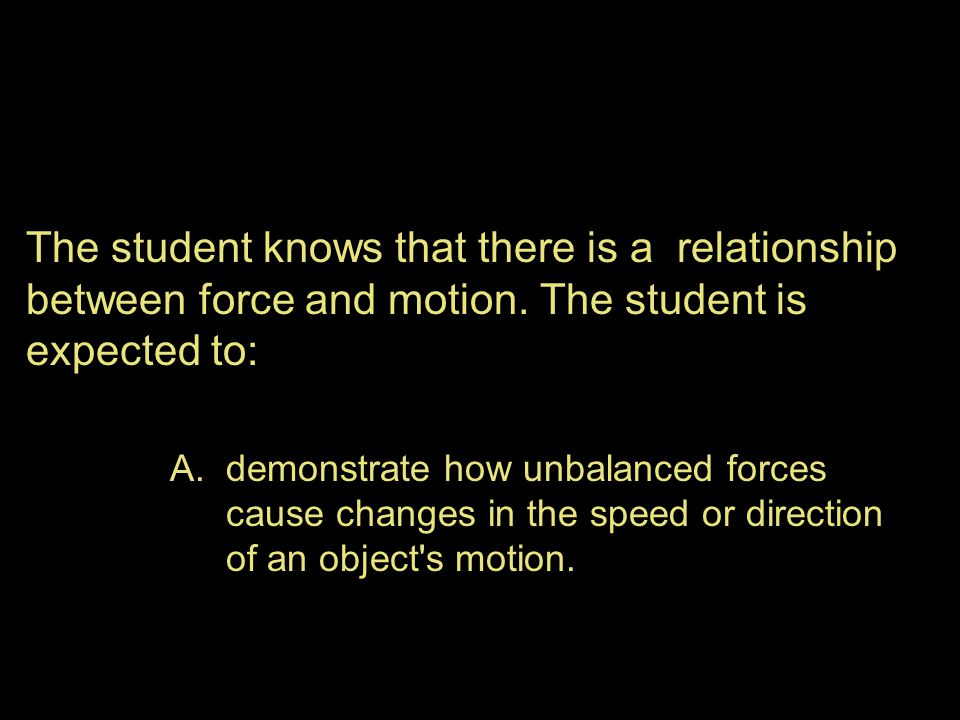 The student knows that there is a relationship between force and motion. The student is expected to: A.demonstrate how unbalanced forces cause changes