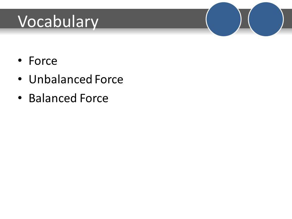 Vocabulary Force Unbalanced Force Balanced Force