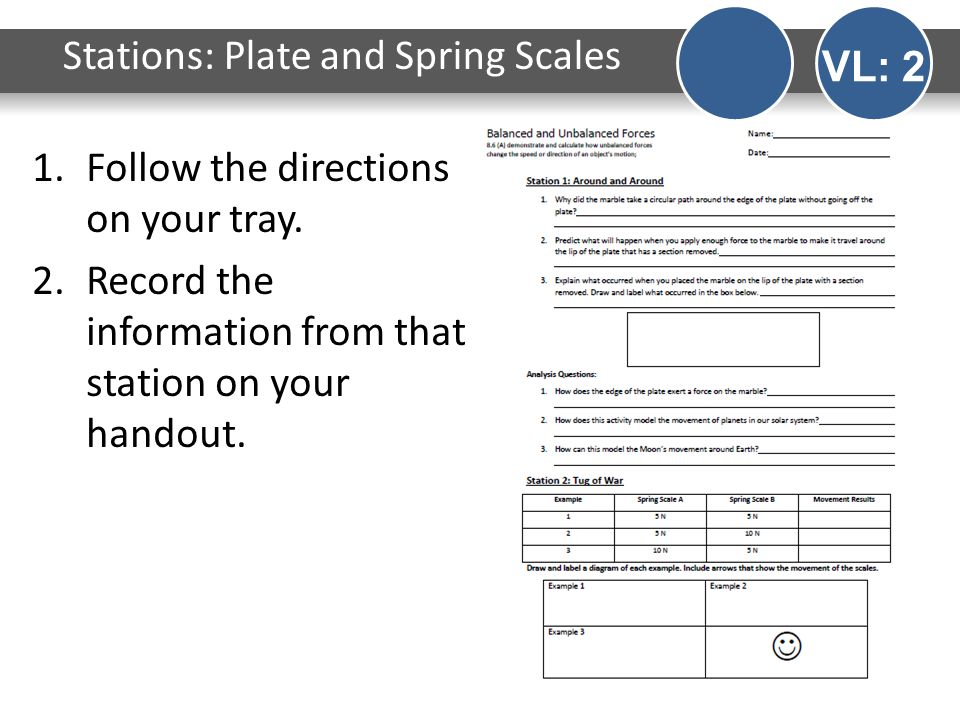 Stations: Plate and Spring Scales VL: 2 1.Follow the directions on your tray. 2.Record the information from that station on your handout.