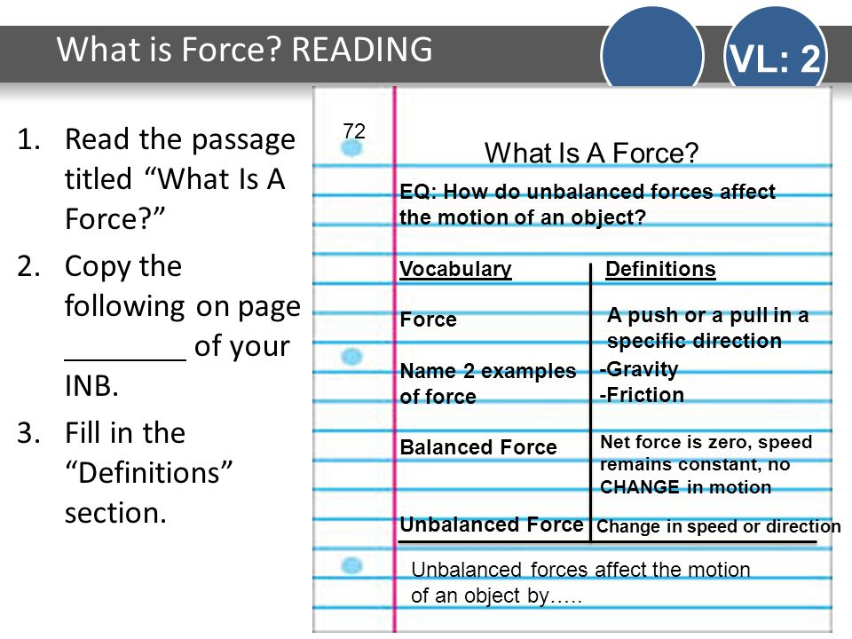 """What is Force? READING VL: 2 1.Read the passage titled """"What Is A Force?"""" 2.Copy the following on page of your INB. 3.Fill in the """"Definitions"""" sectio"""