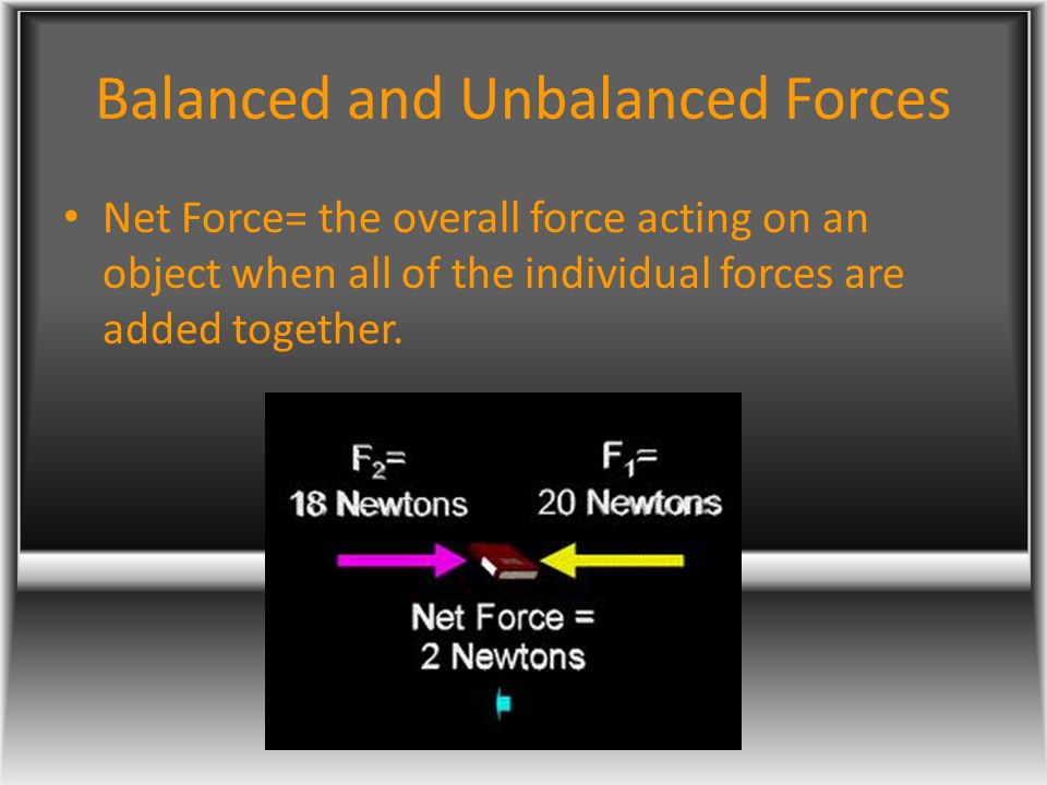 Balanced and Unbalanced Forces Net Force= the overall force acting on an object when all of the individual forces are added together.