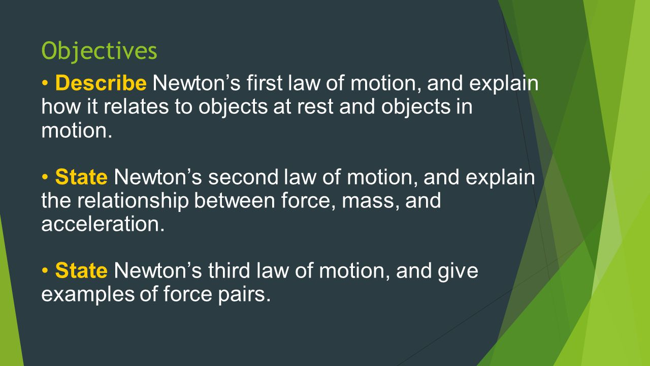 Newton's Second Law of Motion Expressing Newton's Second Law Mathematically The relationship of acceleration (a) to mass (m) and force (F) can be expressed mathematically with the following equation: m a  F m, orF   a