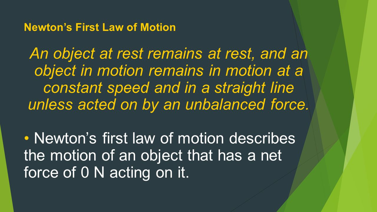 Newton's First Law of Motion Part 1: Objects at Rest Objects at rest will stay at rest unless they are acted on by an unbalanced force.