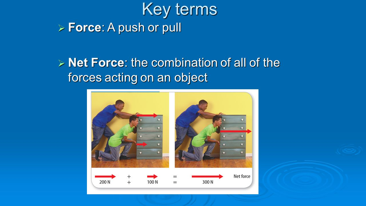 Key terms  Force: A push or pull  Net Force: the combination of all of the forces acting on an object
