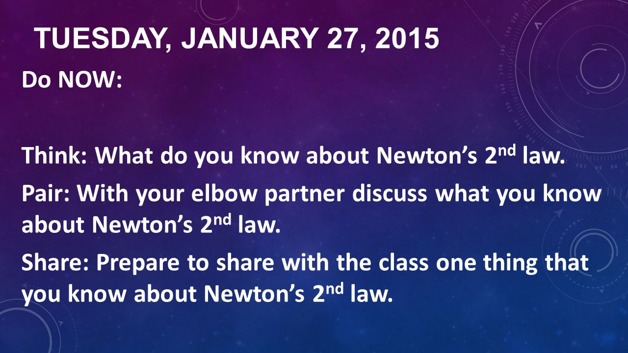 TUESDAY, JANUARY 27, 2015 Do NOW: Think: What do you know about Newton's 2 nd law. Pair: With your elbow partner discuss what you know about Newton's