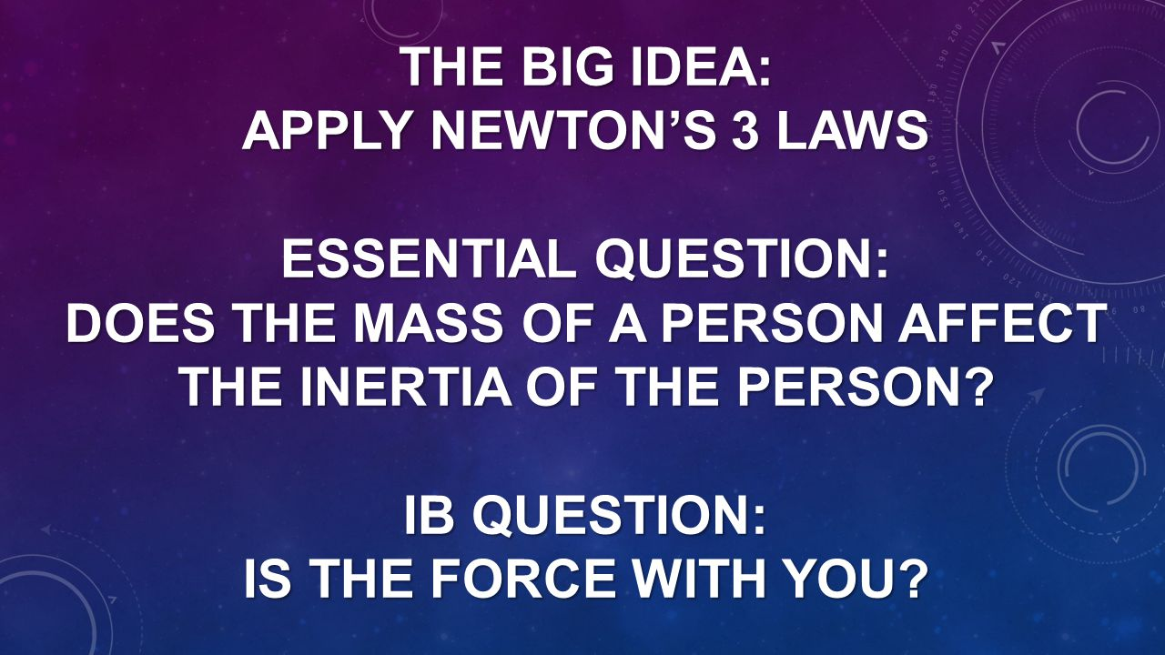 THE BIG IDEA: APPLY NEWTON'S 3 LAWS ESSENTIAL QUESTION: DOES THE MASS OF A PERSON AFFECT THE INERTIA OF THE PERSON? IB QUESTION: IS THE FORCE WITH YOU