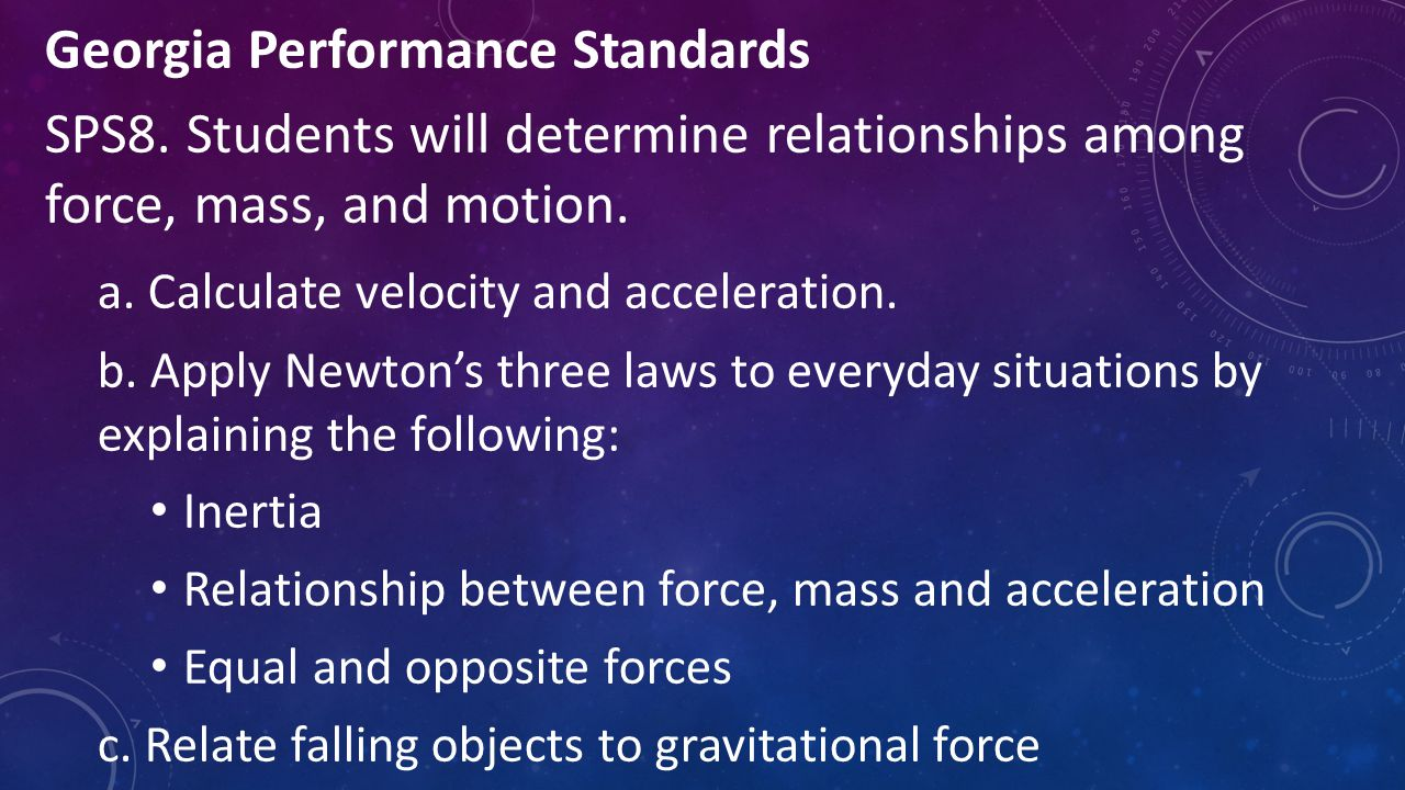 Georgia Performance Standards SPS8. Students will determine relationships among force, mass, and motion. a. Calculate velocity and acceleration. b. Ap