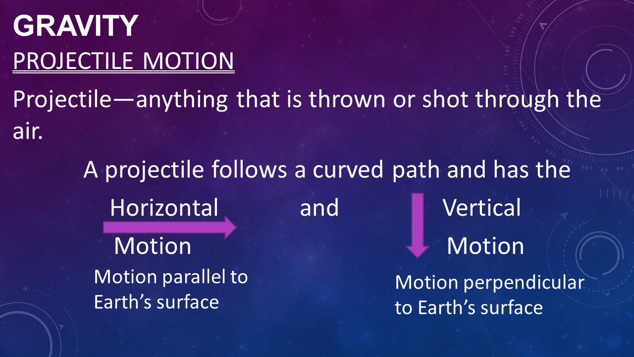 GRAVITY PROJECTILE MOTION Projectile—anything that is thrown or shot through the air. A projectile follows a curved path and has the HorizontalandVert