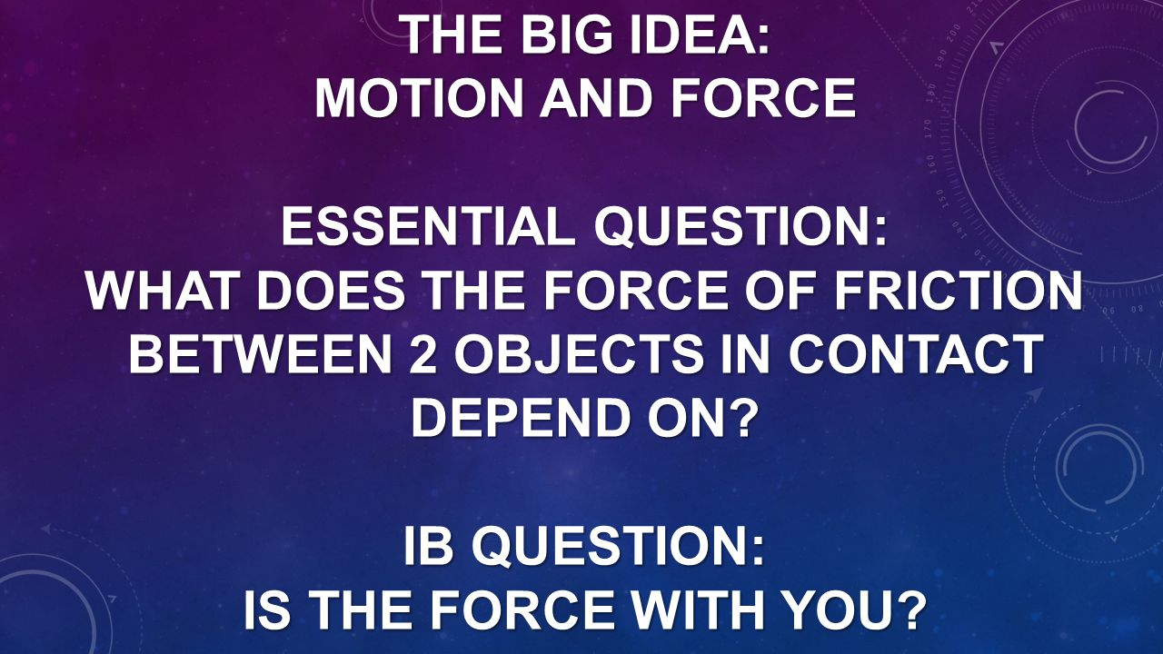 THE BIG IDEA: MOTION AND FORCE ESSENTIAL QUESTION: WHAT DOES THE FORCE OF FRICTION BETWEEN 2 OBJECTS IN CONTACT DEPEND ON? IB QUESTION: IS THE FORCE W