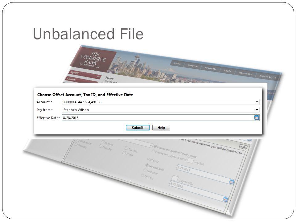 Unbalanced File