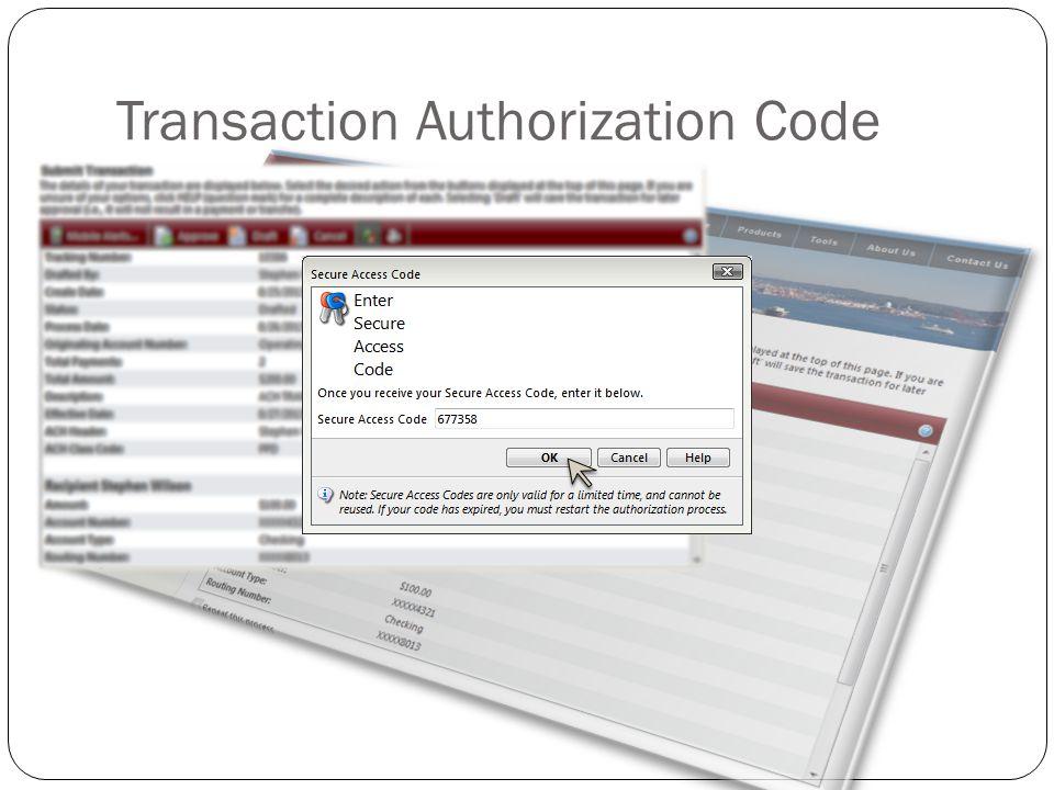 Transaction Authorization Code