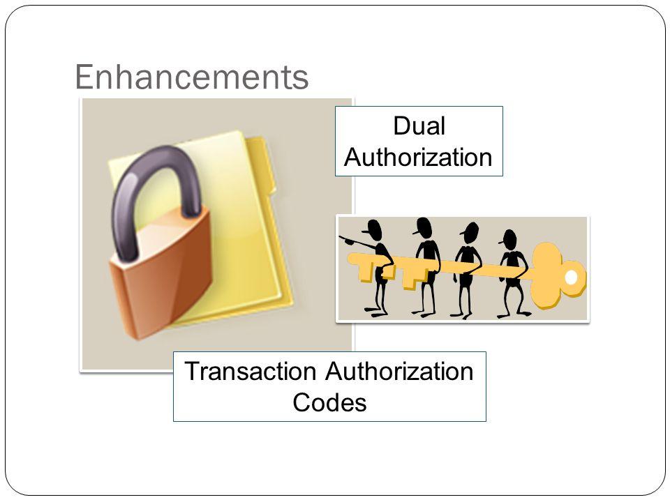 Enhancements Dual Authorization Transaction Authorization Codes