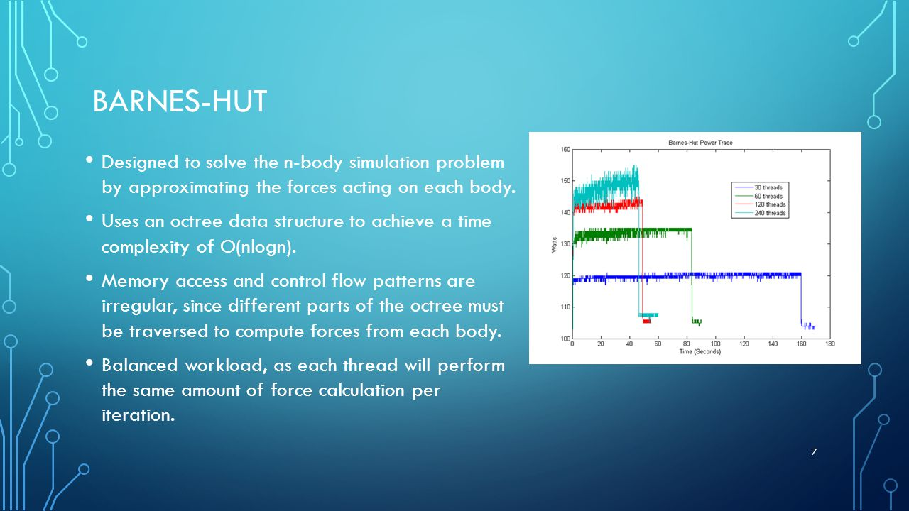 BARNES-HUT Designed to solve the n-body simulation problem by approximating the forces acting on each body.