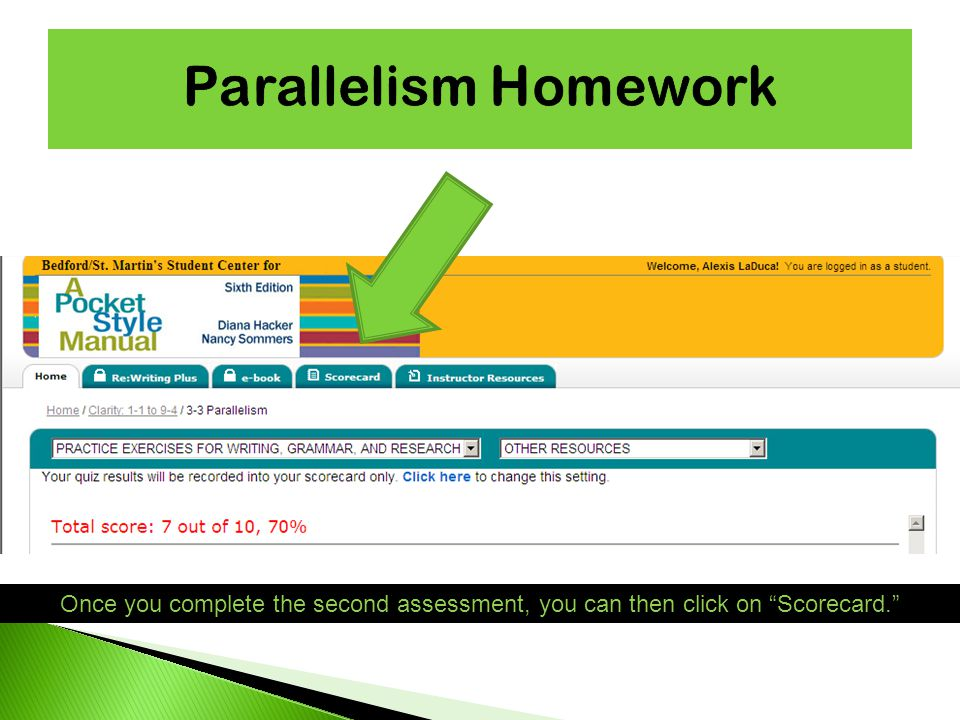 Once you complete the second assessment, you can then click on Scorecard.