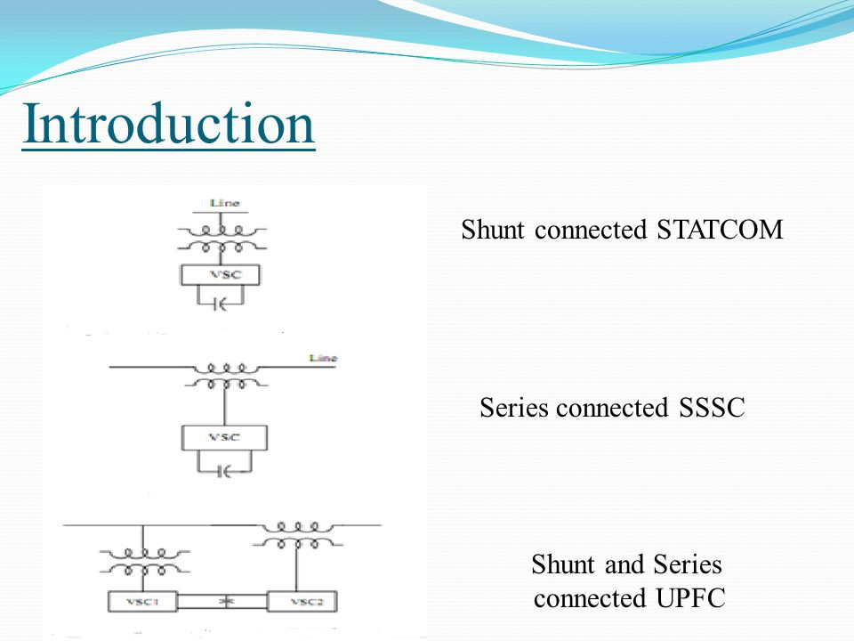 Introduction Shunt connected STATCOM Series connected SSSC Shunt and Series connected UPFC