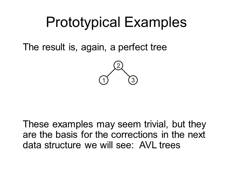 Prototypical Examples The result is, again, a perfect tree These examples may seem trivial, but they are the basis for the corrections in the next dat