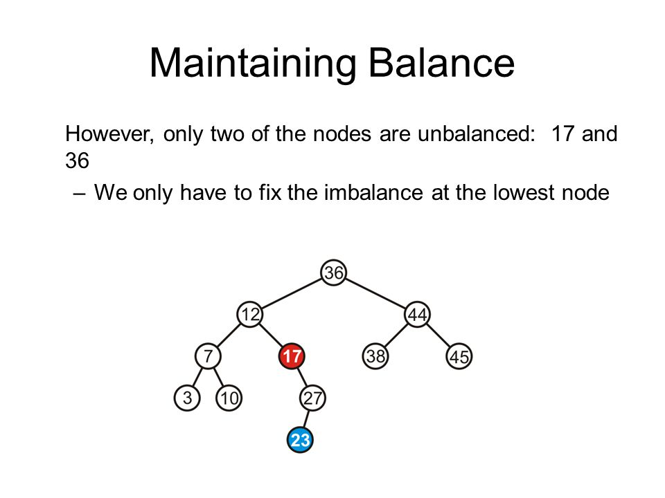 Maintaining Balance However, only two of the nodes are unbalanced: 17 and 36 –We only have to fix the imbalance at the lowest node