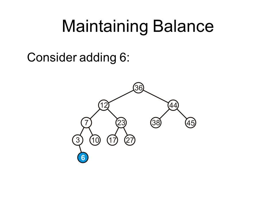 Maintaining Balance Consider adding 6: