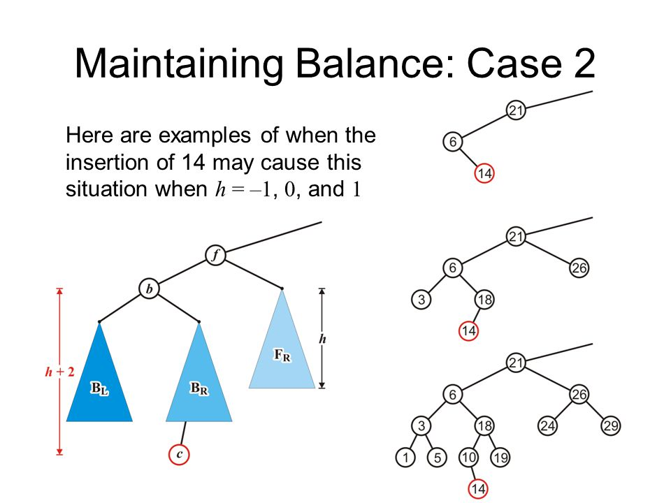 Maintaining Balance: Case 2 Here are examples of when the insertion of 14 may cause this situation when h = –1, 0, and 1