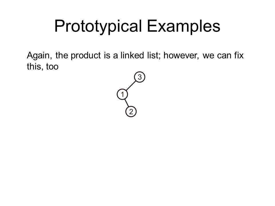 Prototypical Examples Again, the product is a linked list; however, we can fix this, too