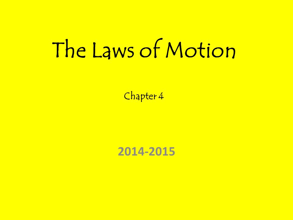 The Laws of Motion Chapter