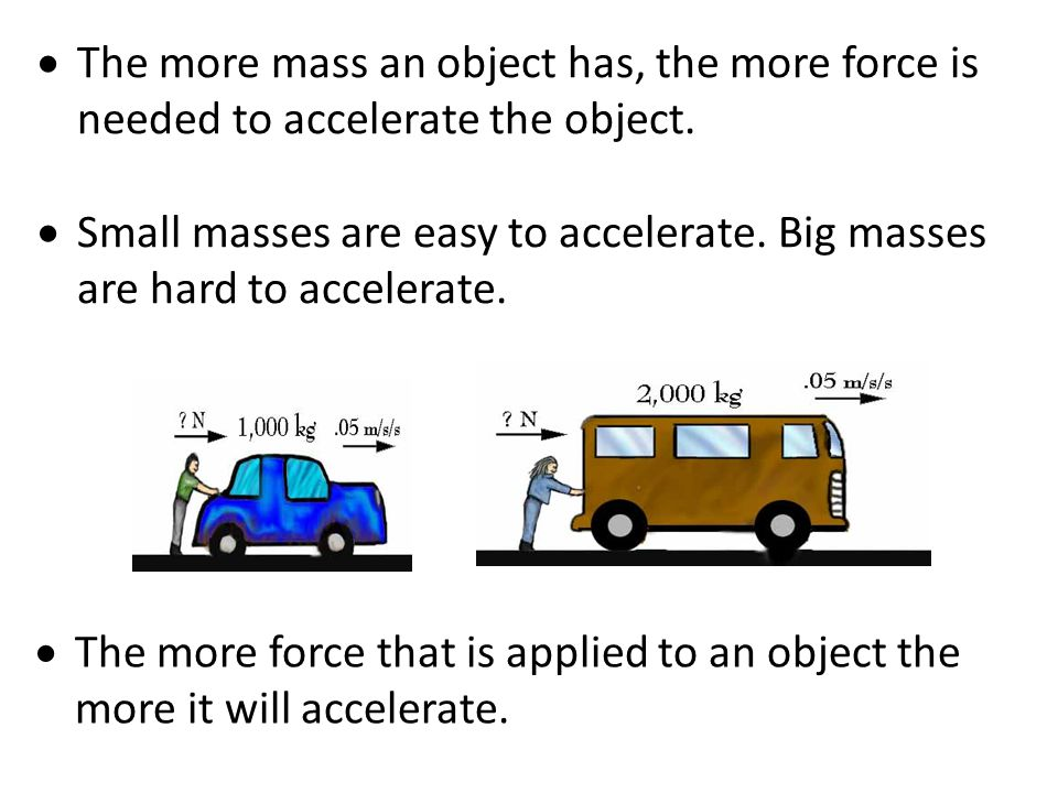  Acceleration can be calculated as: Acceleration = force/mass a = F/m or Force = mass X acceleration Example: You are pushing a friend on a sled. You