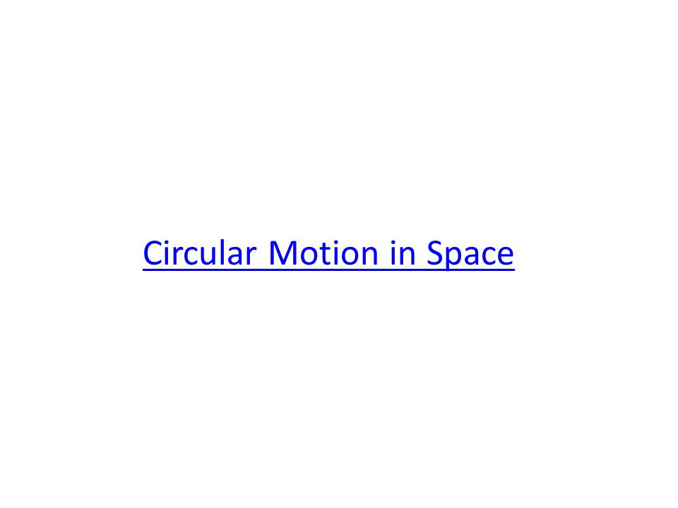 Circular Motion in Space