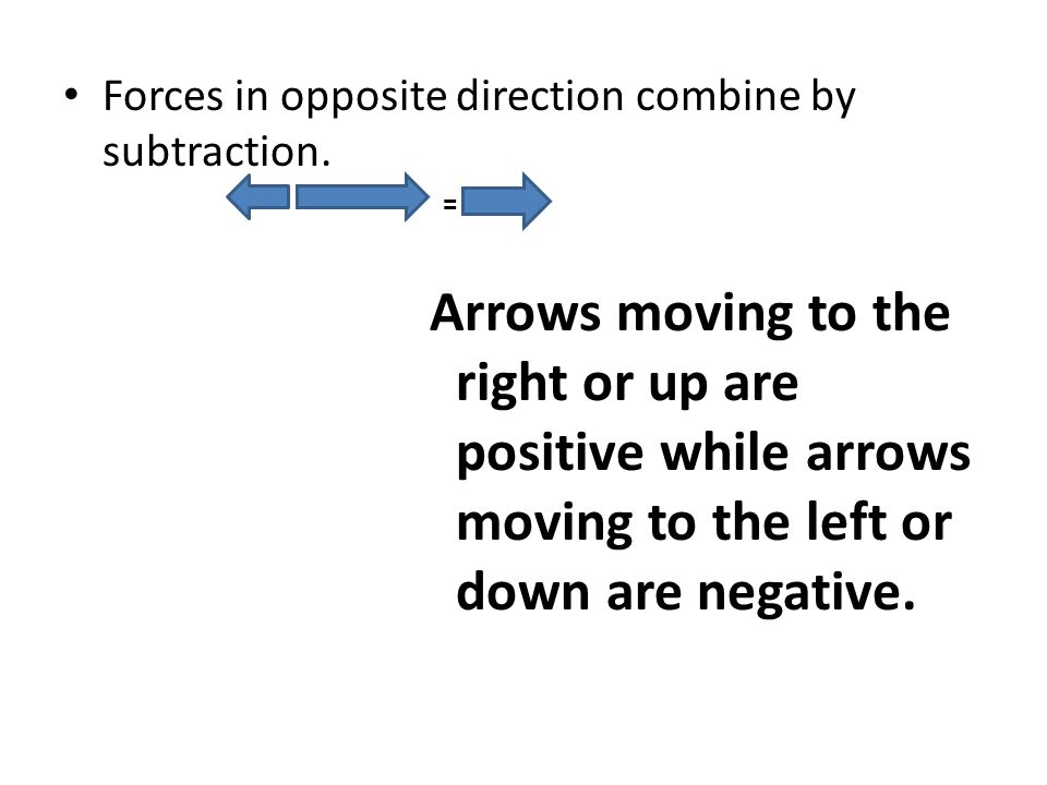 Forces in opposite direction combine by subtraction. = Arrows moving to the right or up are positive while arrows moving to the left or down are negat