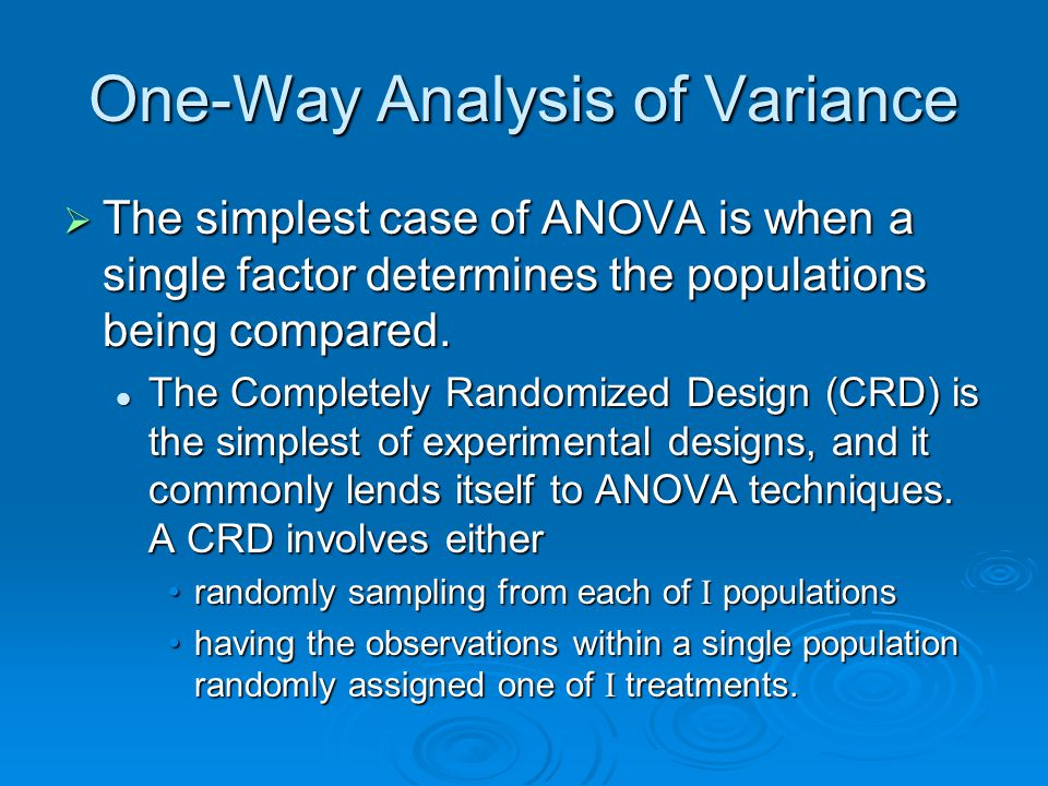 ANOVA Appropriate Hypothesis: Appropriate Hypothesis: