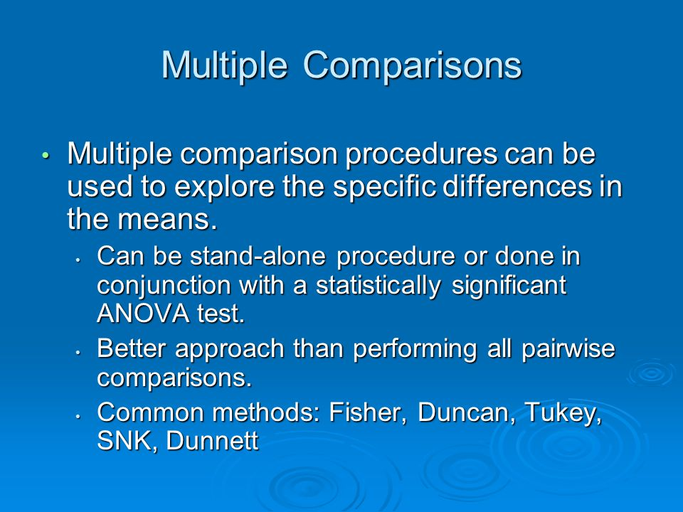 Multiple Comparisons  Procedures that allow for comparisons of individual pairs or combinations of means.