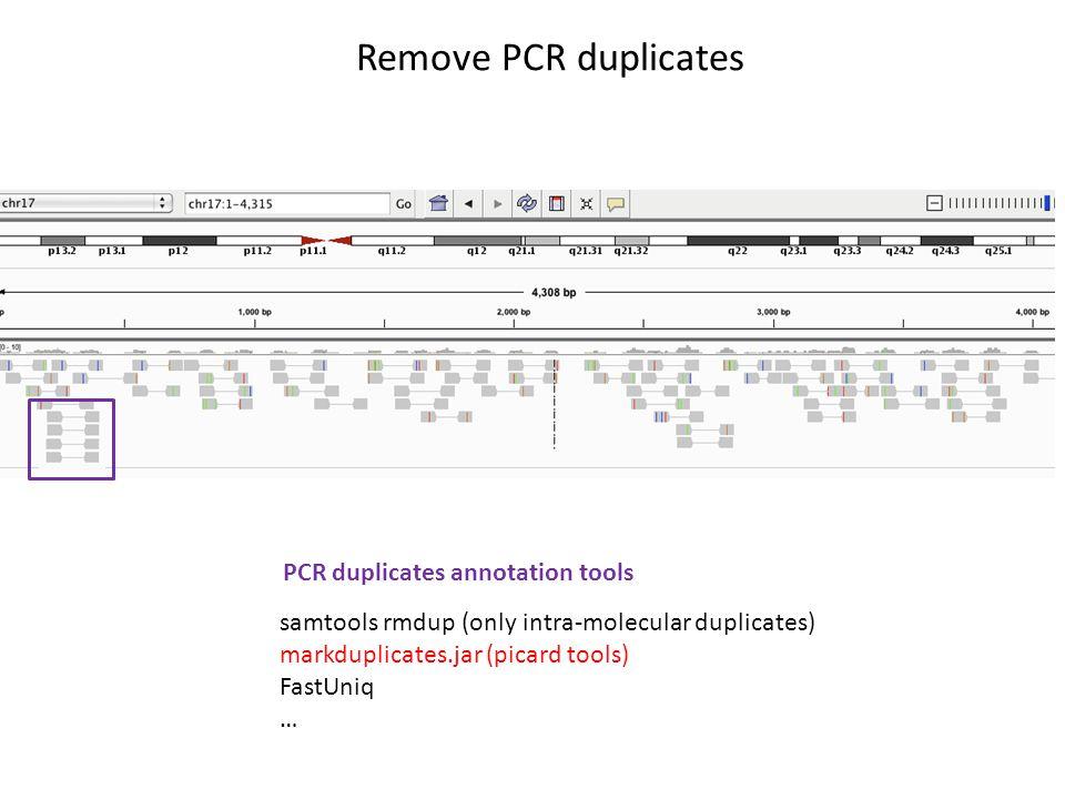 Remove PCR duplicates samtools rmdup (only intra-molecular duplicates) markduplicates.jar (picard tools) FastUniq … PCR duplicates annotation tools