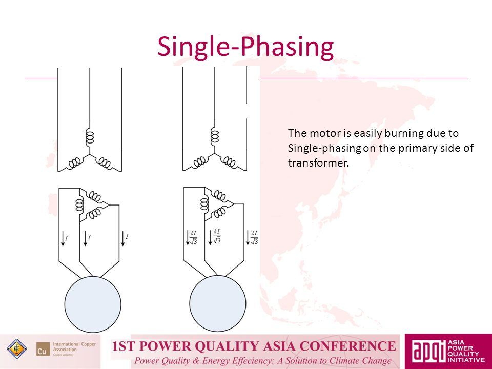 Single-Phasing The motor is easily burning due to Single-phasing on the primary side of transformer.