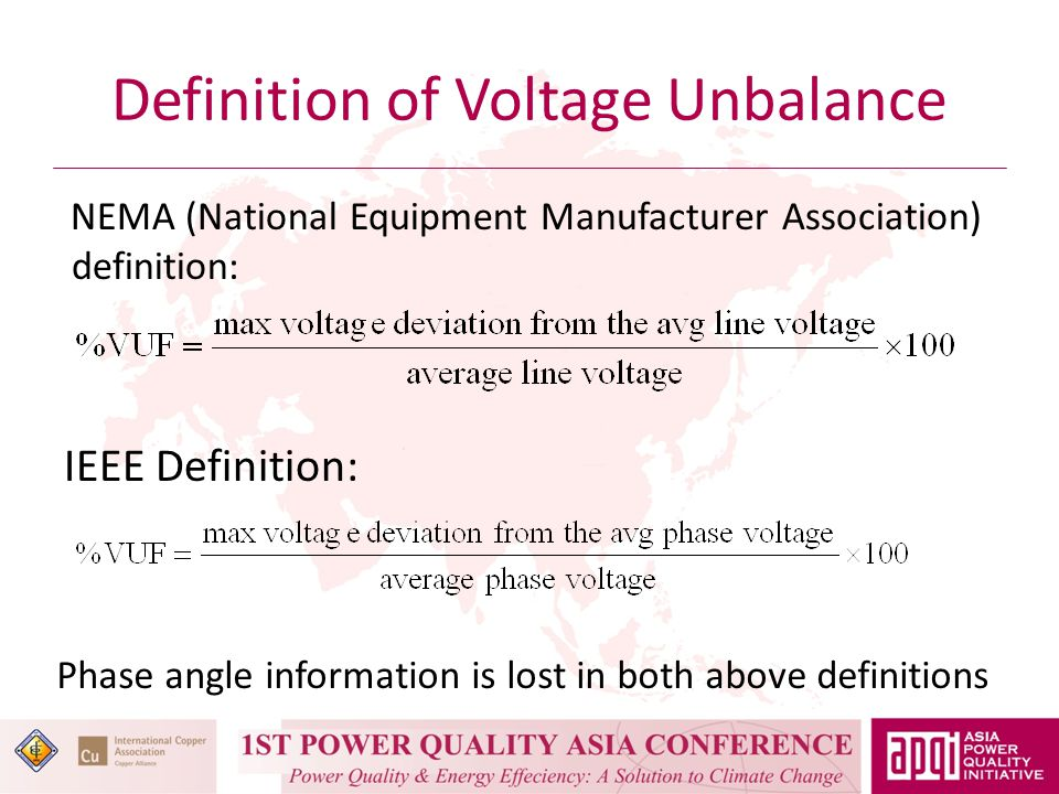 Definition of Voltage Unbalance IEC Definition: The above definition is the correct definition but it is difficult to apply in the field as we have to know the line voltage phasors.