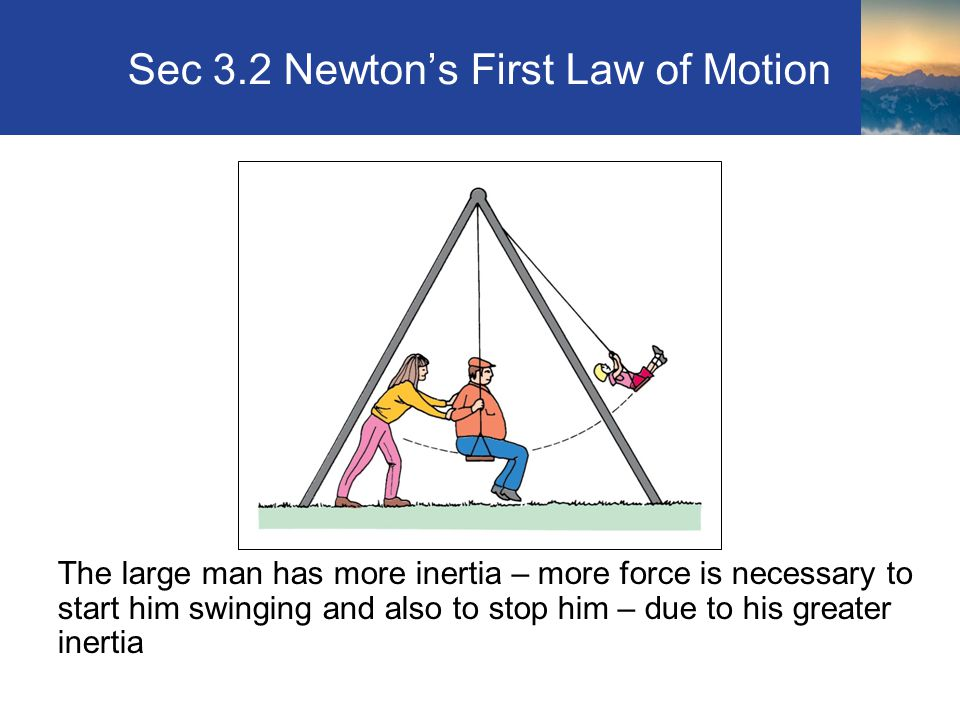 Sec 3.2 Newton's First Law of Motion The large man has more inertia – more force is necessary to start him swinging and also to stop him – due to his greater inertia Section 3.2