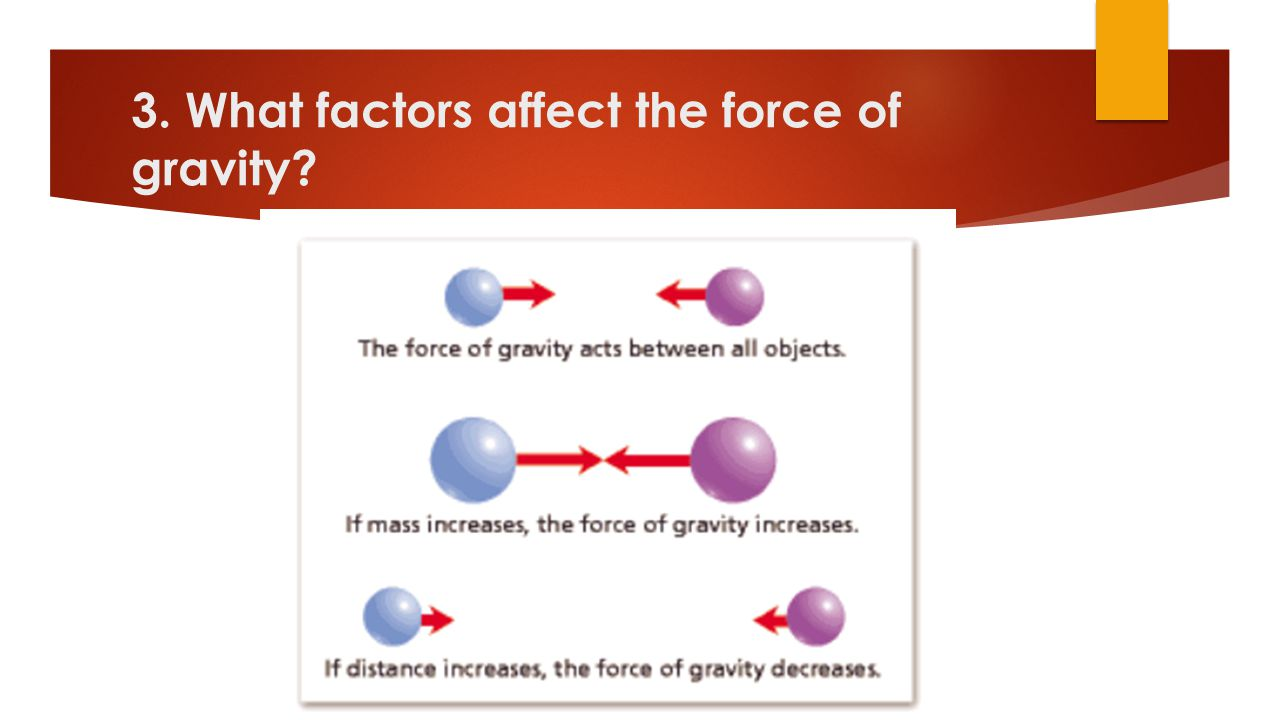  The amount of mass: The more massive the object, the stronger the force of gravity.