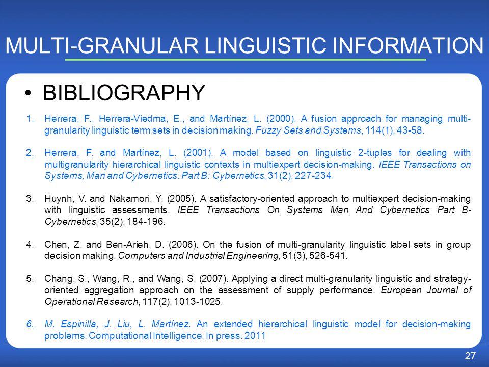 MULTI-GRANULAR LINGUISTIC INFORMATION BIBLIOGRAPHY 1.Herrera, F., Herrera-Viedma, E., and Martínez, L.